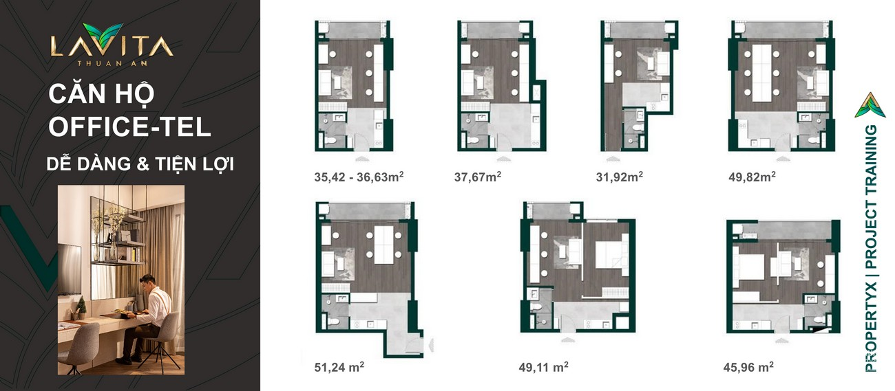 Thiết kế chi tiết căn hộ officetel dự án Lavita Thuận An