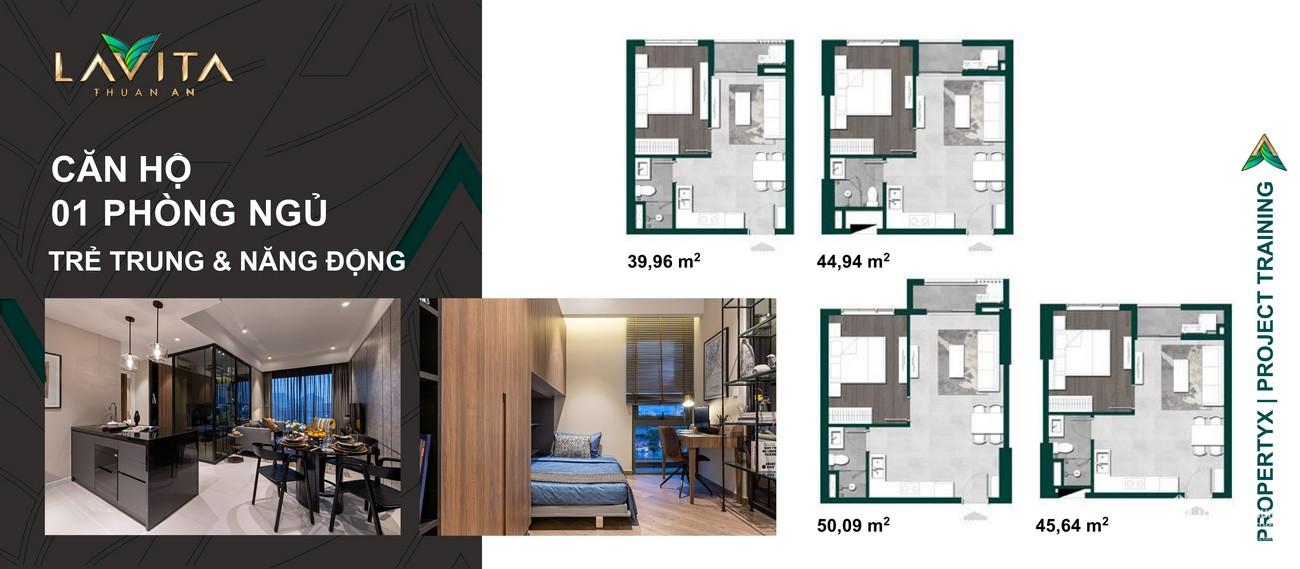 Thiết kế chi tiết căn hộ  1 PN dự án Lavita Thuận An