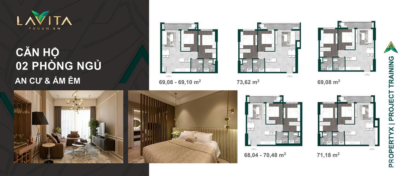 Thiết kế chi tiết căn hộ  2 PN dự án Lavita Thuận An