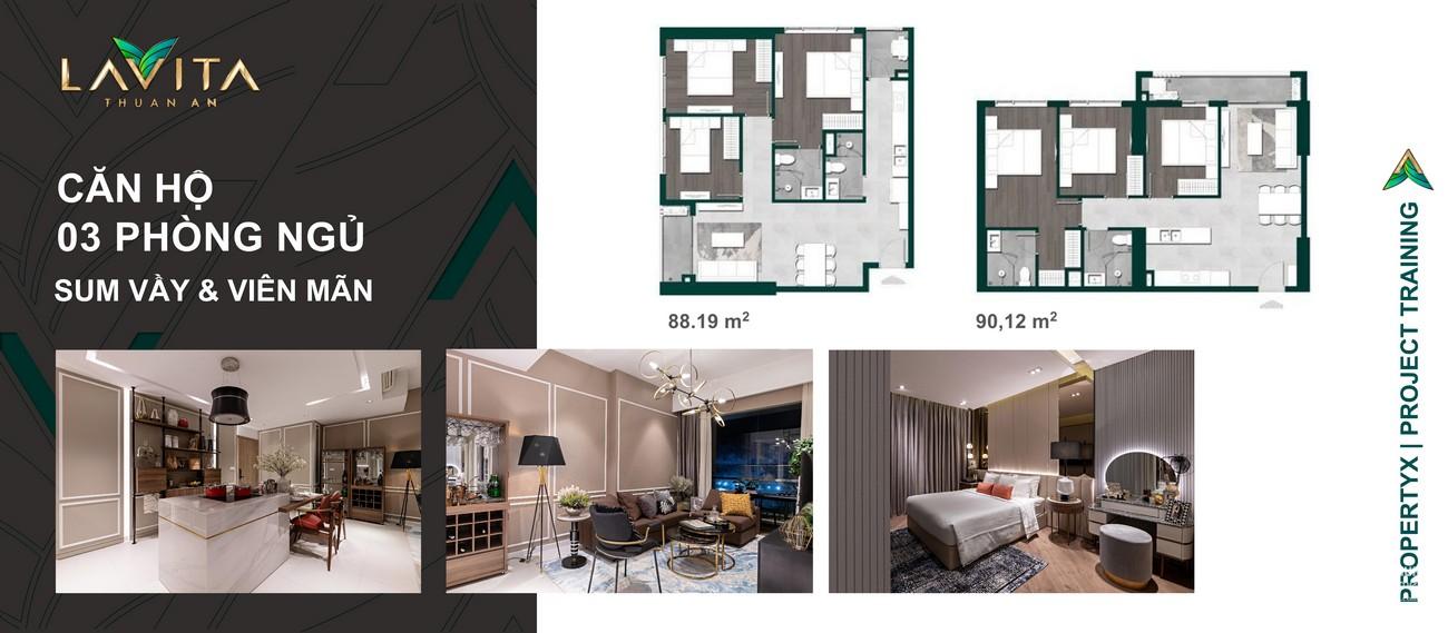 Thiết kế chi tiết căn hộ  3 PN dự án Lavita Thuận An