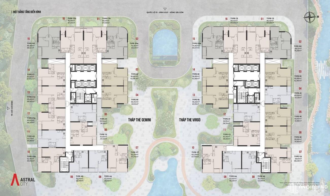 Mặt bằng dự án căn hộ chung cư Astral City Thuận An Đường Quốc lộ 13 chủ đầu tư Phát Đạt Group