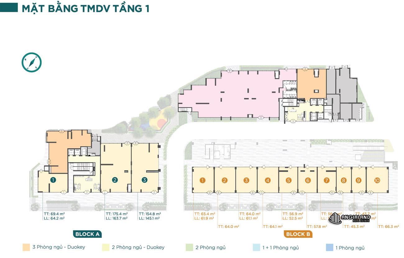 Mặt bằng tầng 01 căn hộ chung cư Dlusso Quận 2