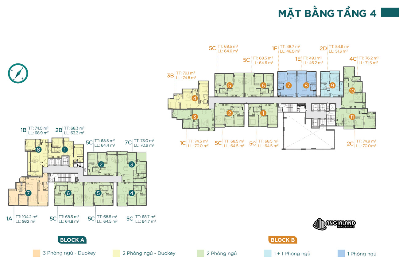 Mặt bằng tầng 04 căn hộ chung cư Dlusso Quận 2