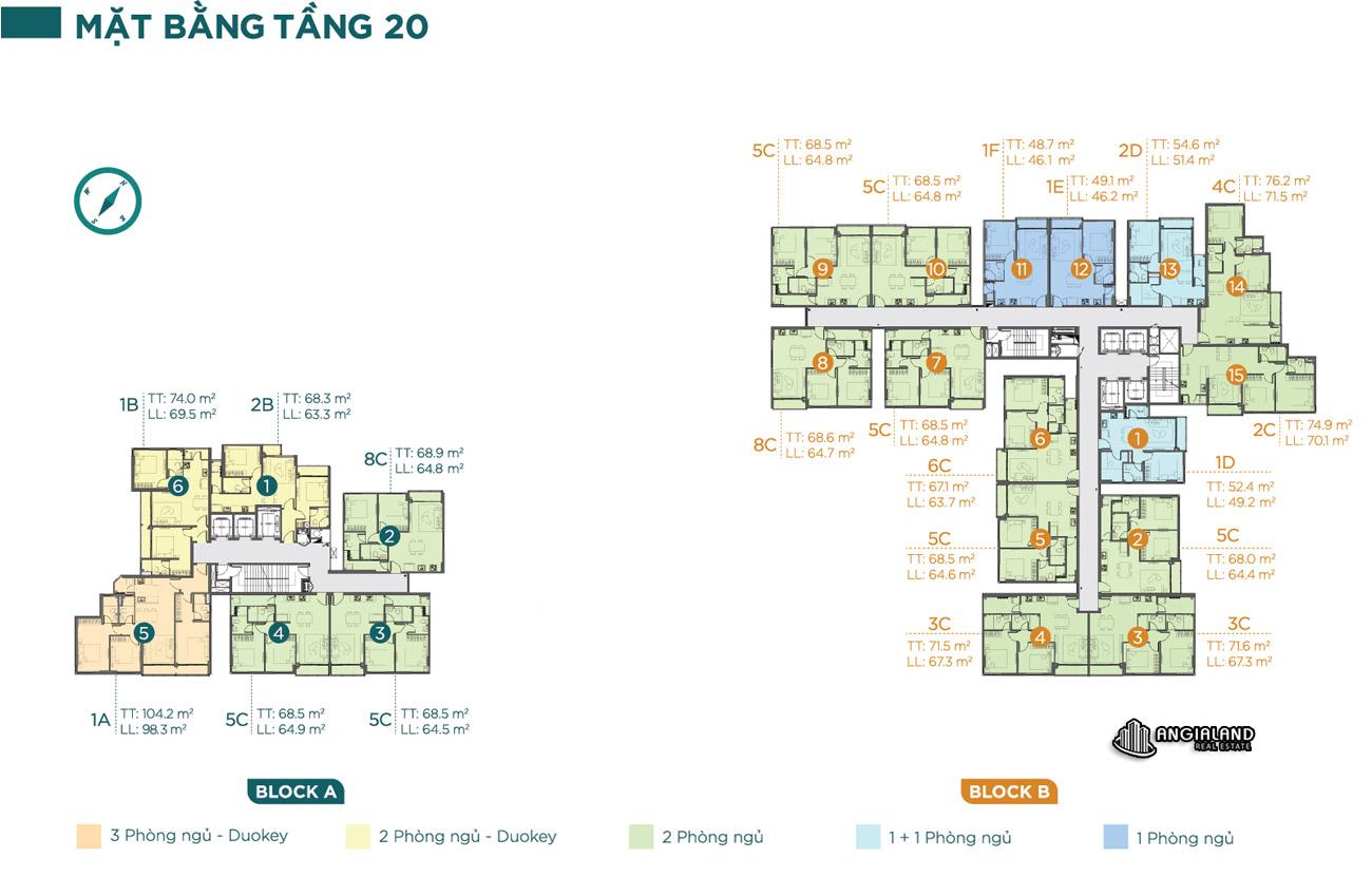 Mặt bằng tầng 20 căn hộ chung cư Dlusso Quận 2