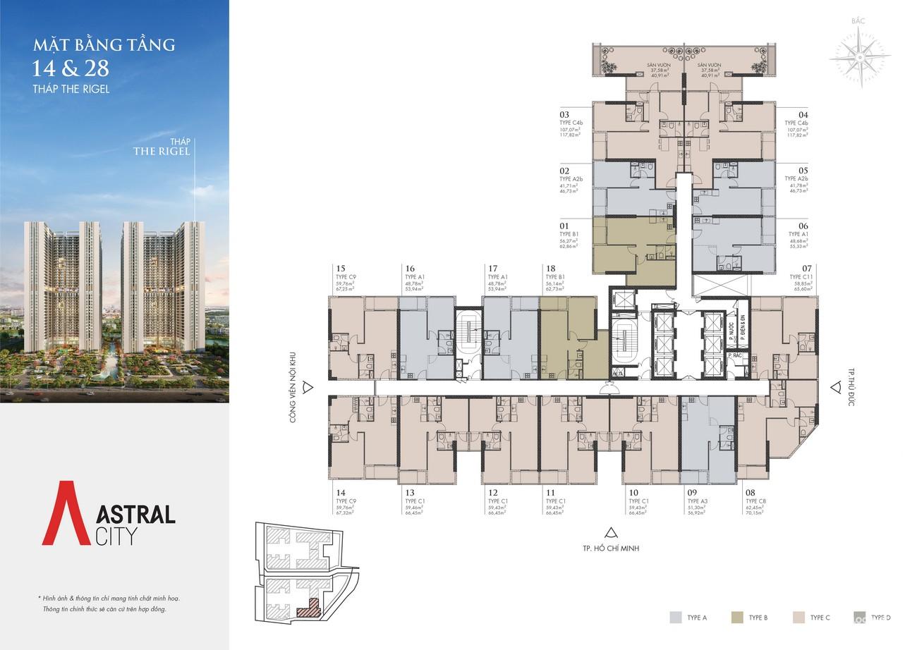Mặt bằng tháp RIGEL dự án căn hộ chung cư Astral City Bình Dương