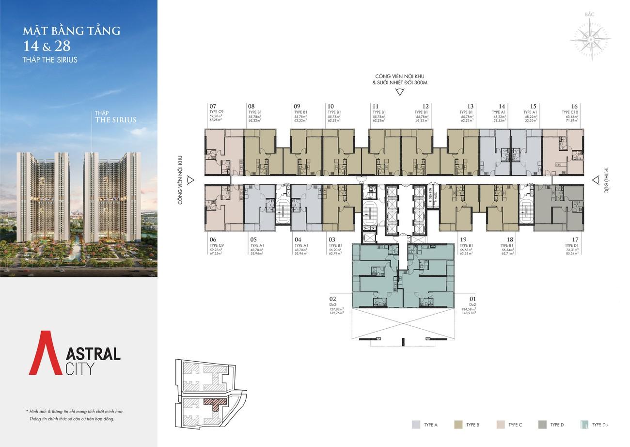Mặt bằng tháp Sirius dự án căn hộ chung cư Astral City Bình Dương