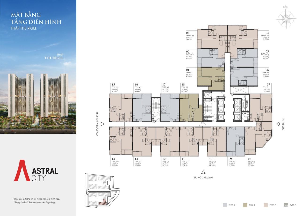 Mặt bằng tháp Vega dự án căn hộ chung cư Astral City Bình Dương