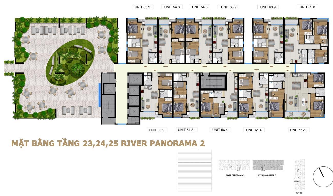 Mặt băng tầng 23,24,25 cụm River Panorama 2 Quận 7 đường Hoàng Quốc Việt