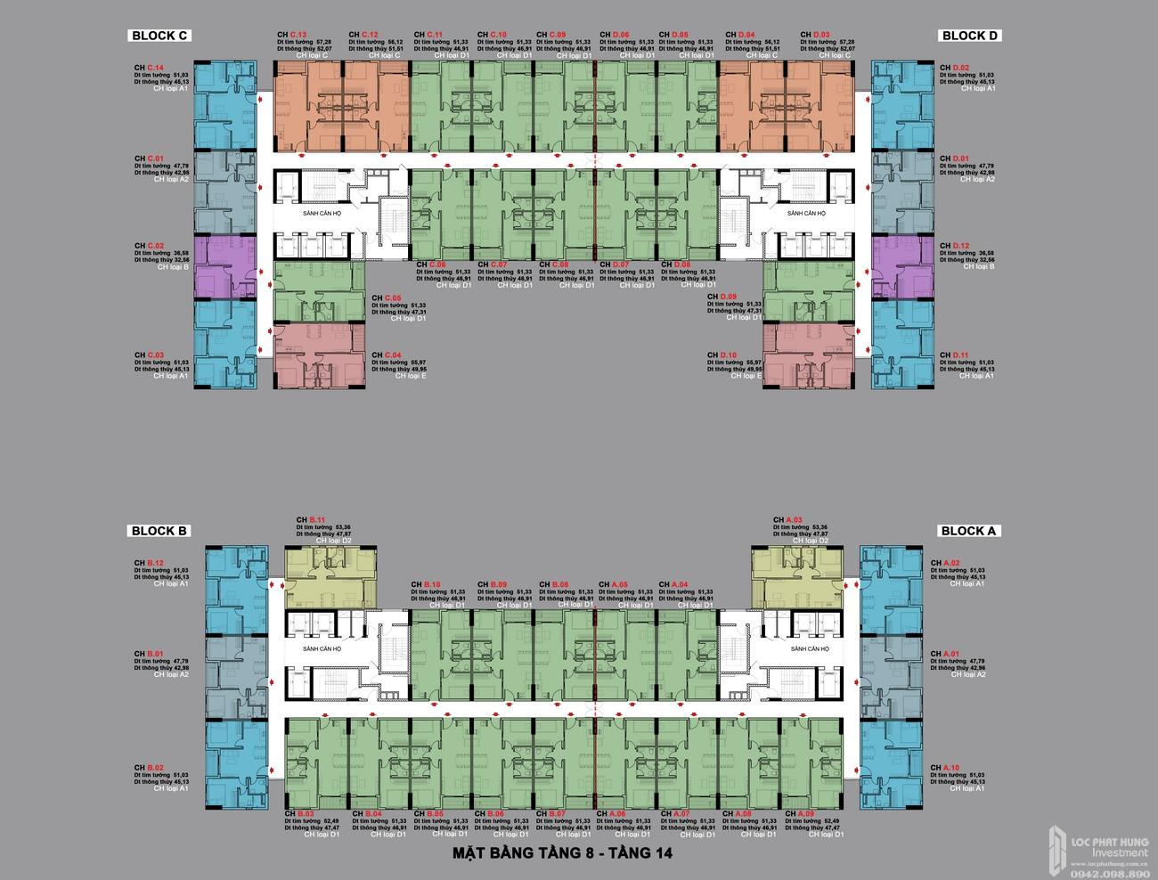 Mặt bằng tầng 8-14 dự án BCONS PLAZA