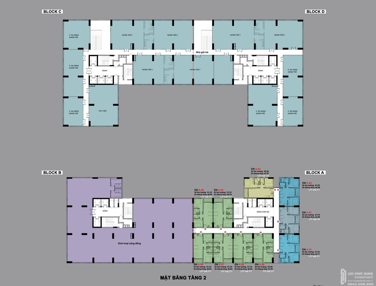 Mặt bằng tầng 2 dự án BCONS PLAZA