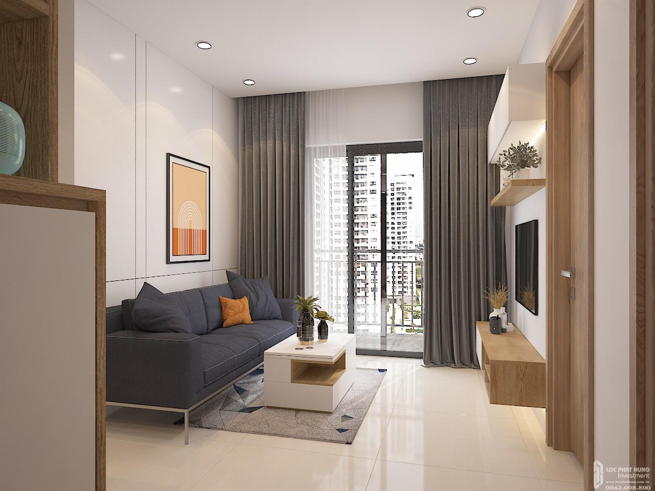 Nhà mẫu phòng khách căn 2-A1 dự án căn hộ chung cư Bcons Plaza Dĩ An Đường Thống Nhất chủ đầu tư Bcons mau Bcons Plaza