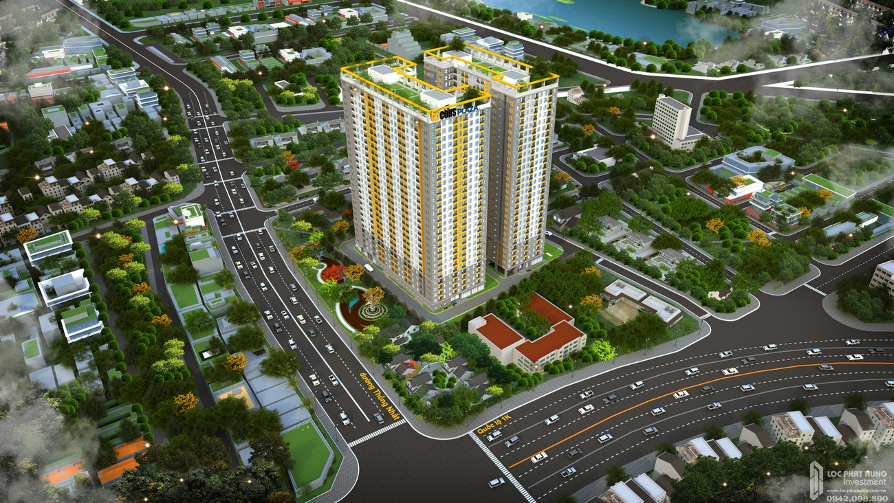 Phối cảnh tổng thể dự án căn hộ chung cư Bcons Plaza Dĩ An Đường Thống Nhất chủ đầu tư Bcons