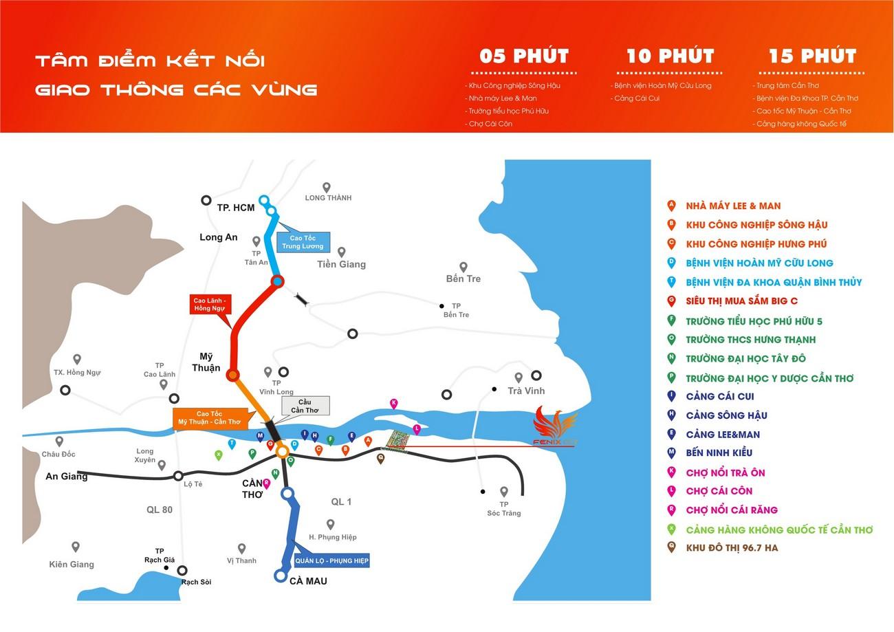 Vị trí địa chỉ dự án đất nền Fenix City Châu Thành Đường Nam Sông Hậu