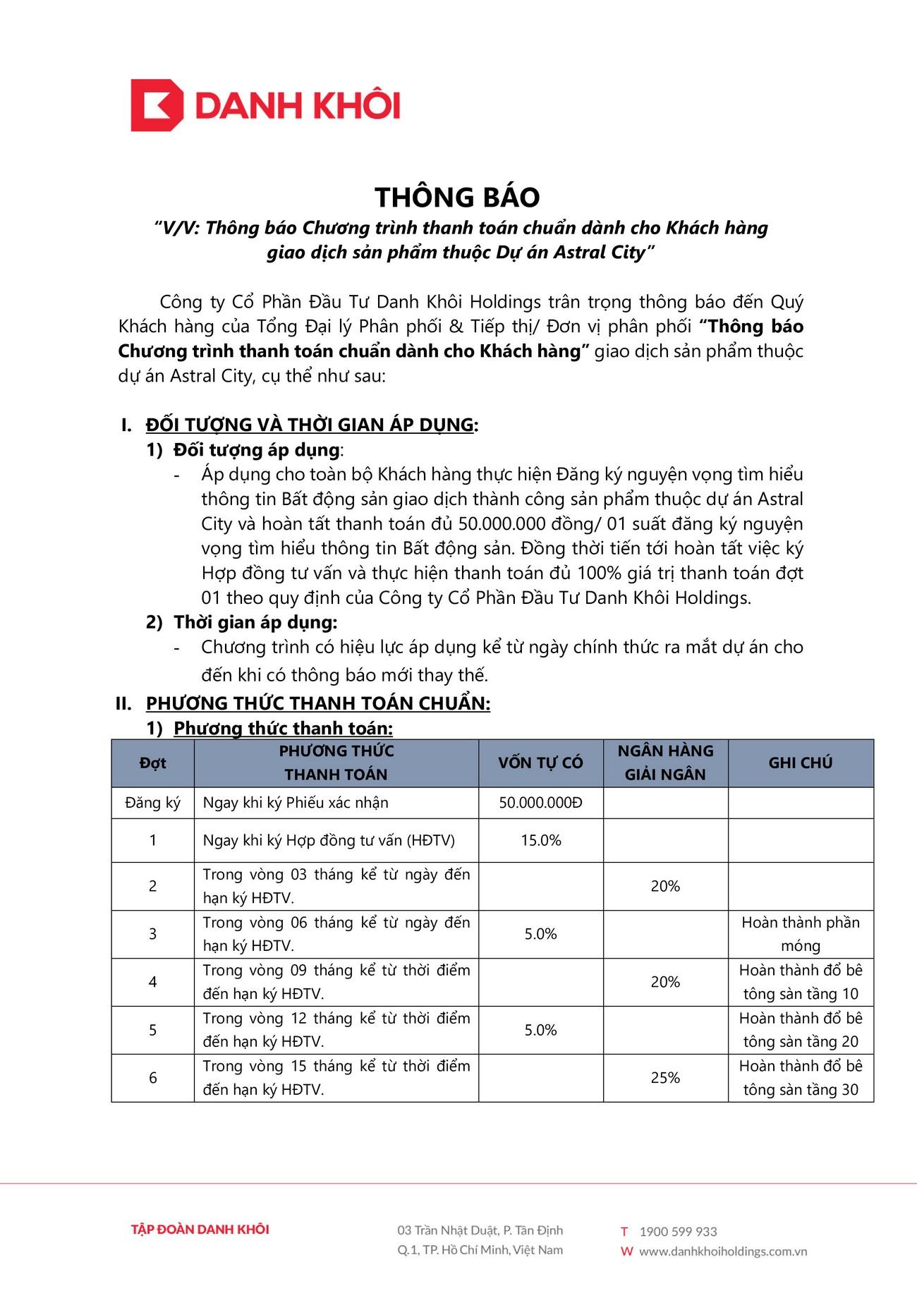 Phương thức thanh toán dự án căn hộ Astral City Thuận An Đường Quốc lộ 13 chủ đầu tư Phát Đạt Group