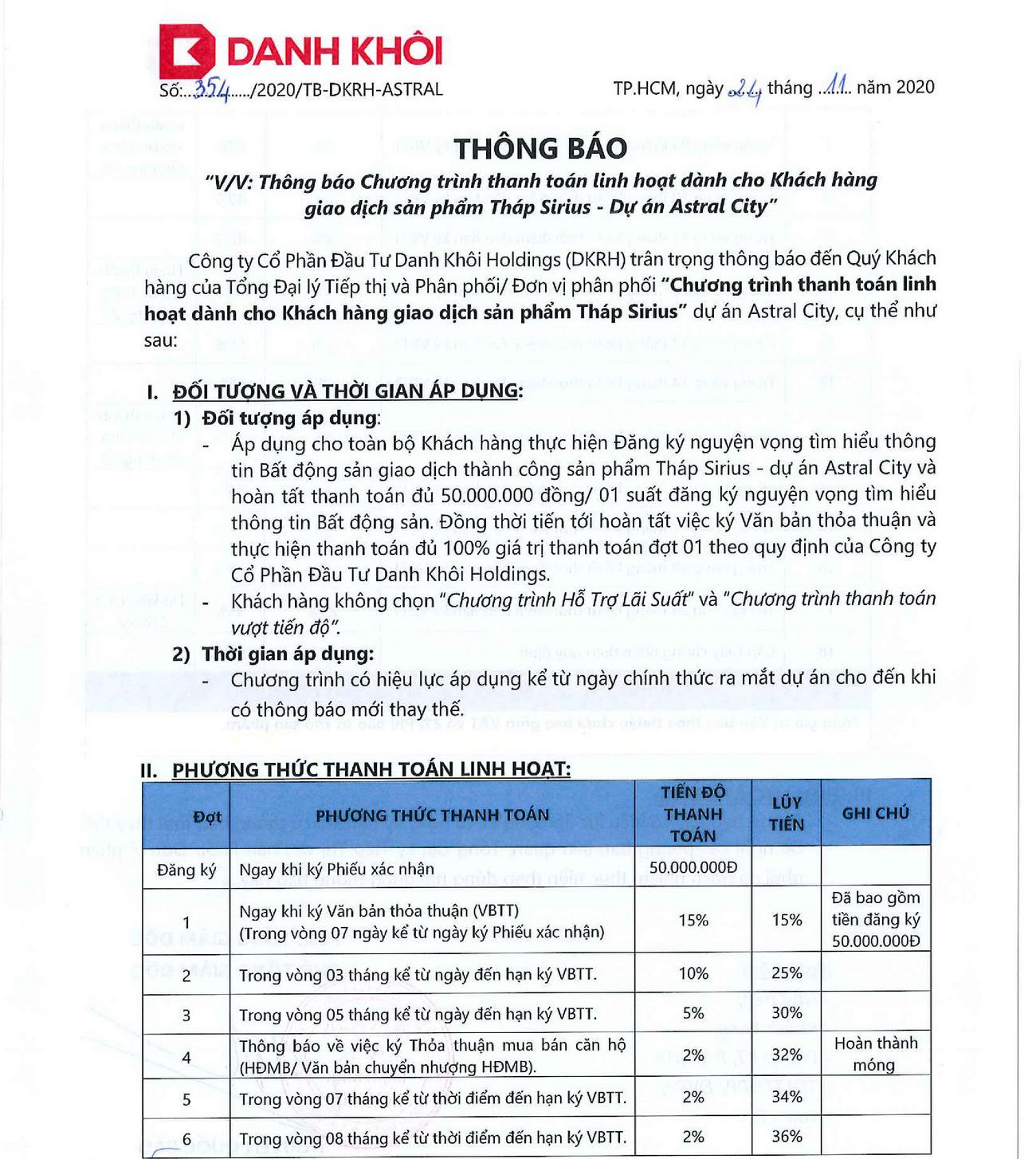 Phương thức thanh linh hoạt toán dự án căn hộ Astral City Thuận An Đường Quốc lộ 13 chủ đầu tư Phát Đạt Group