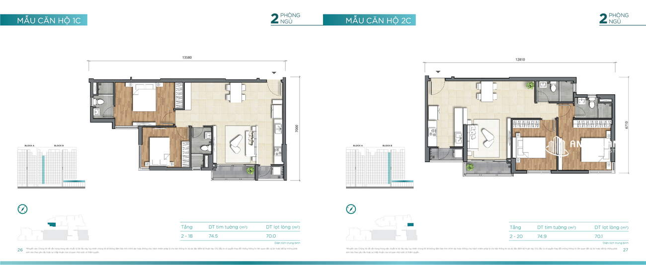 Thiết kế căn hộ 74m² Dlusso Quận 2