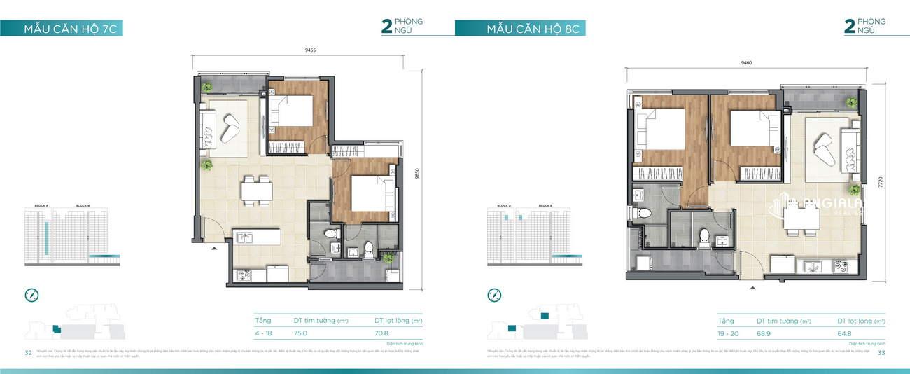 Thiết kế căn hộ 68m² -  75m² Dlusso Quận 2