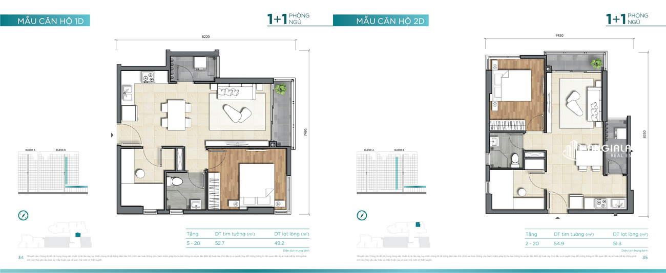 Thiết kế căn hộ 52m² - 54m² Dlusso Quận 2