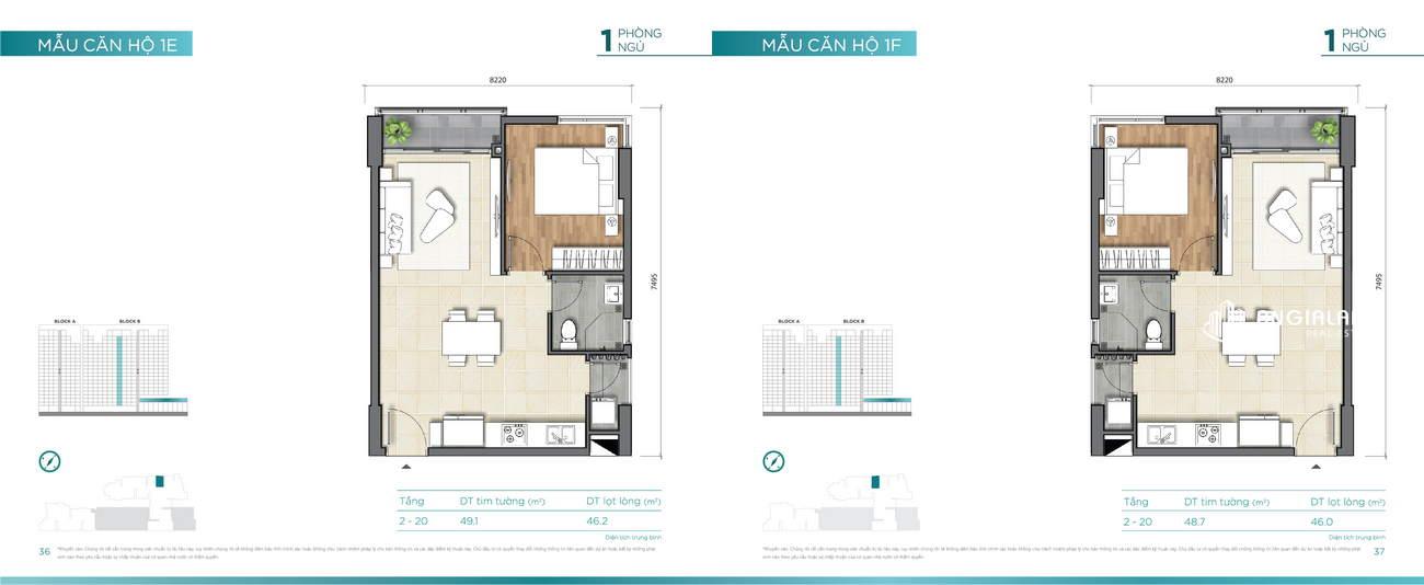 Thiết kế căn hộ 49m² Dlusso Quận 2