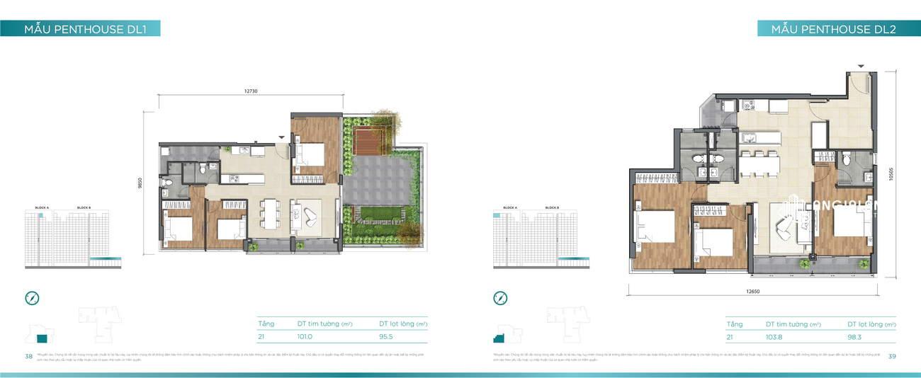 Thiết kế căn hộ 101m² - 104m² Dlusso Quận 2