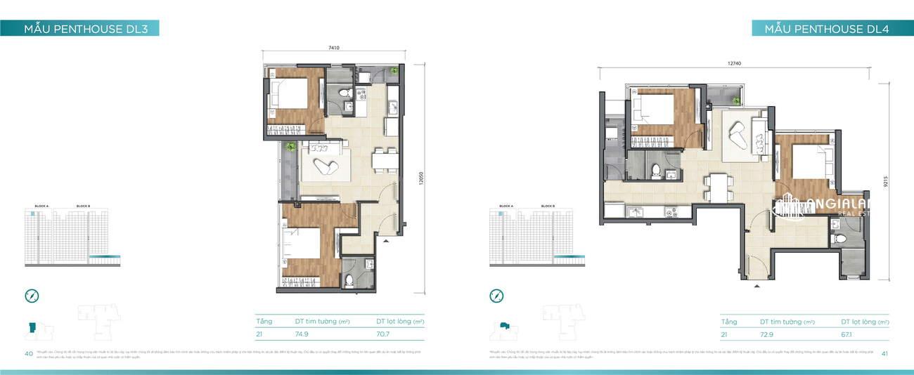 Thiết kế căn hộ 73m² - 75m² Dlusso Quận 2