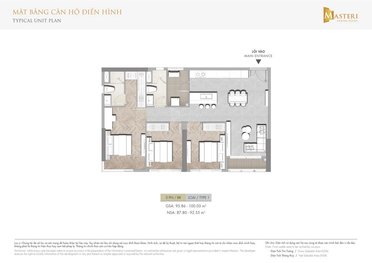 Thiết kế căn hộ Masterise Centre Point Quận 9 Đường Nguyễn Xiển chủ đầu tư Vingroup