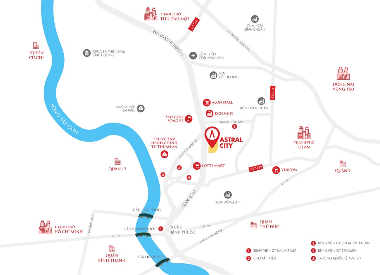 Vị trí địa chỉ chính xác dự án căn hộ chung cư Astral City Bình Dương