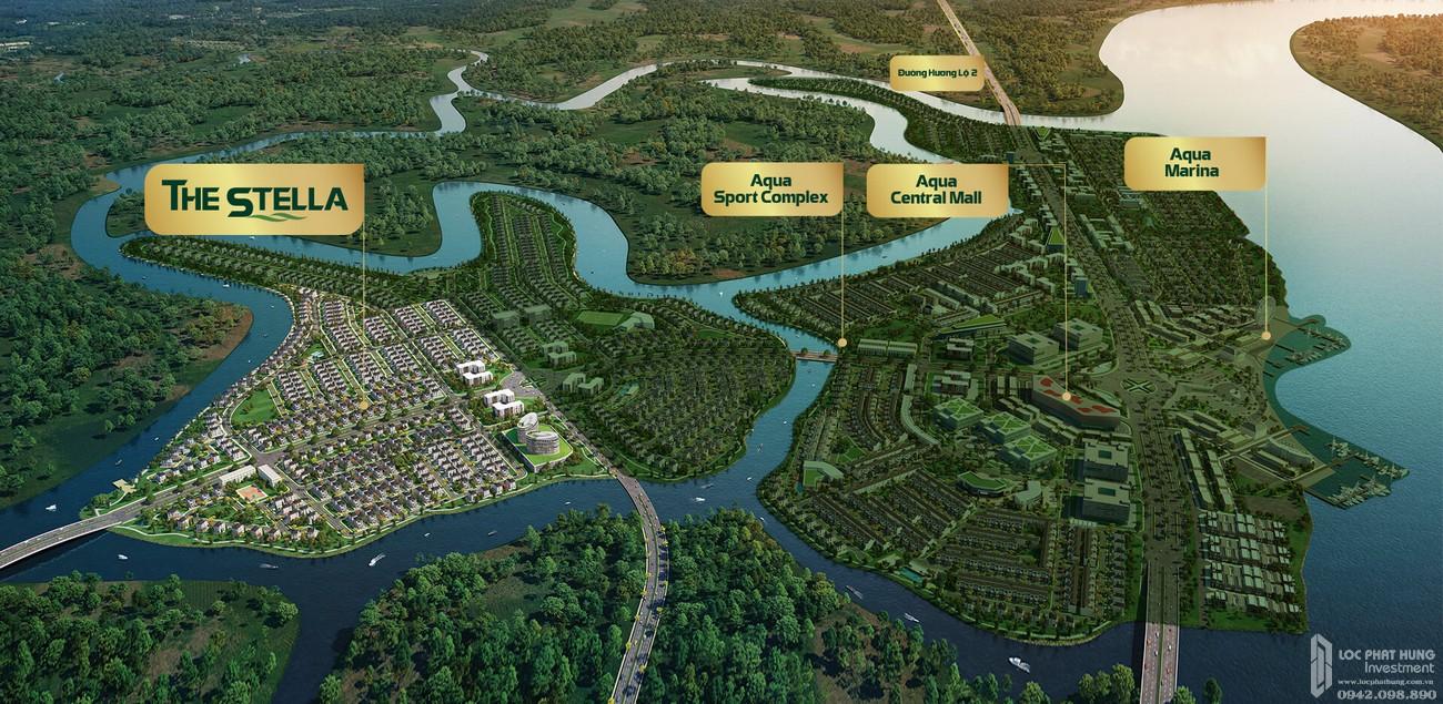 Phối cảnh tổng thể Aqua City The Stella dự án nhà phố Biên Hòa Đường Long Hưng chủ đầu tư Novaland