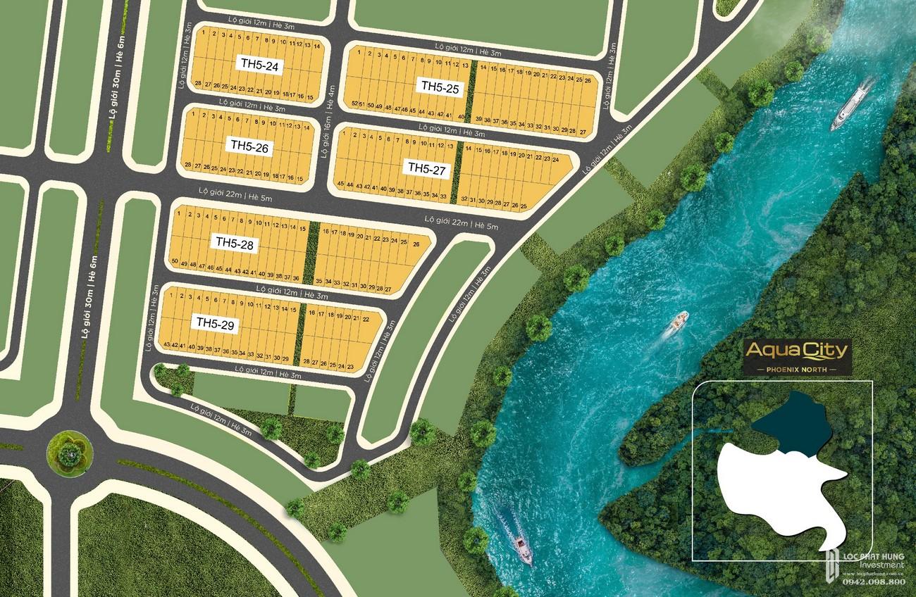 Mặt bằng tổng thể phân khu 5 của Phoenix South Novaland Aqua City nhà phát triển Novaland