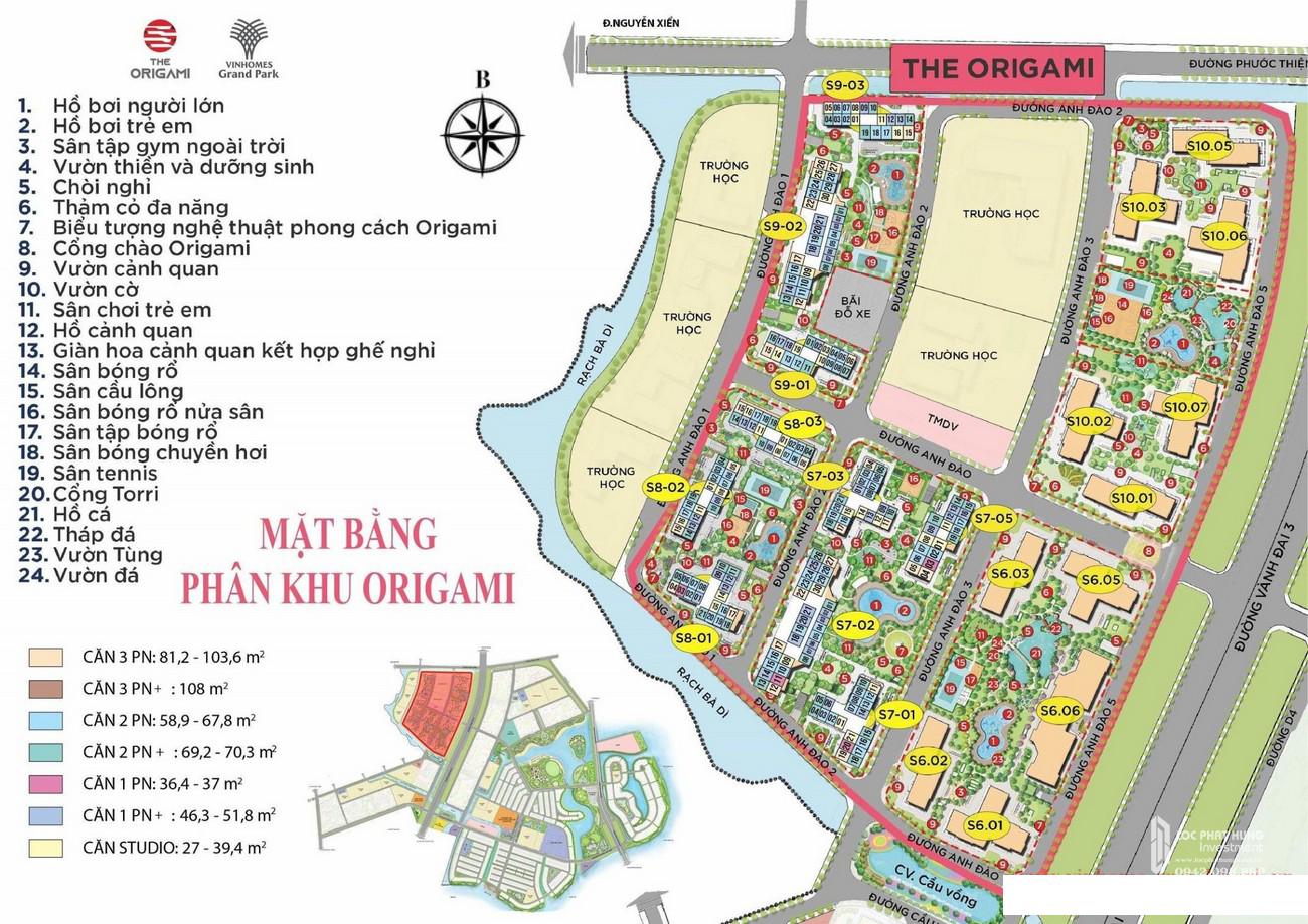 Mặt bằng phân khu Origami dự án Vinhomes Grand Park