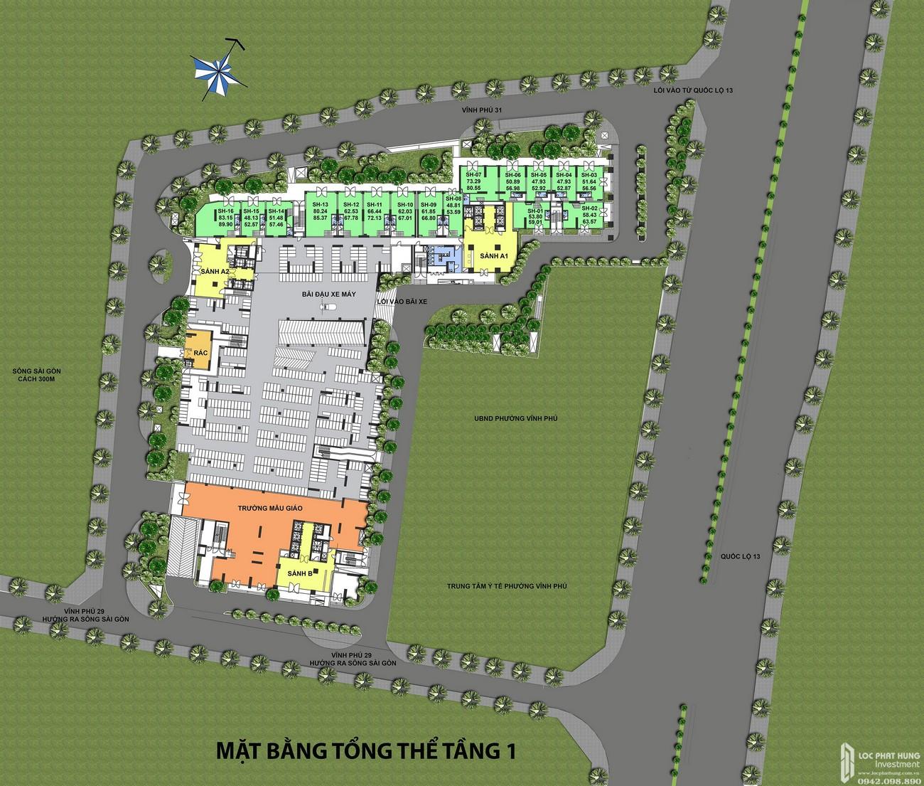 Mặt bằng dự án căn hộ chung cư Rivana Thuận An Đường Quốc lộ 13 chủ đầu tư Đạt Phước
