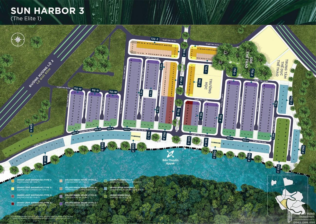 Mặt bằng phân khu The Elite 1 dự án Aqua City The Elite nhà phố Biên Hòa Đường Long Hưng nhà phát triển Novaland