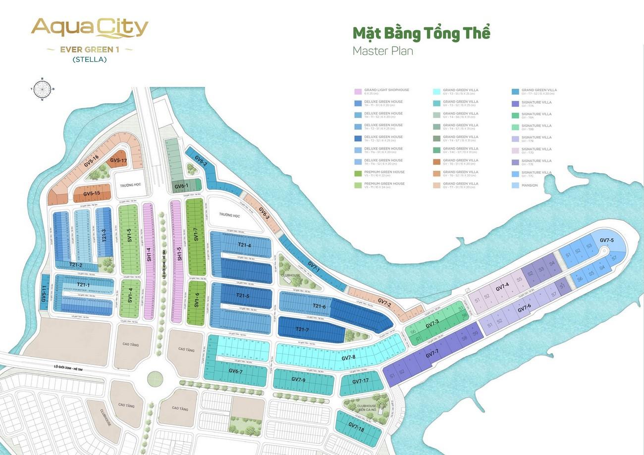 Mặt bằng Aqua City The Stella dự án nhà phố Biên Hòa Đường Long Hưng chủ đầu tư Novaland