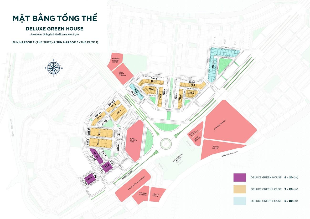 Mặt bằng tổng thể dự án nhà phố Aqua City The Suite Biên Hòa Đường Long Hưng nhà phát triển Novaland
