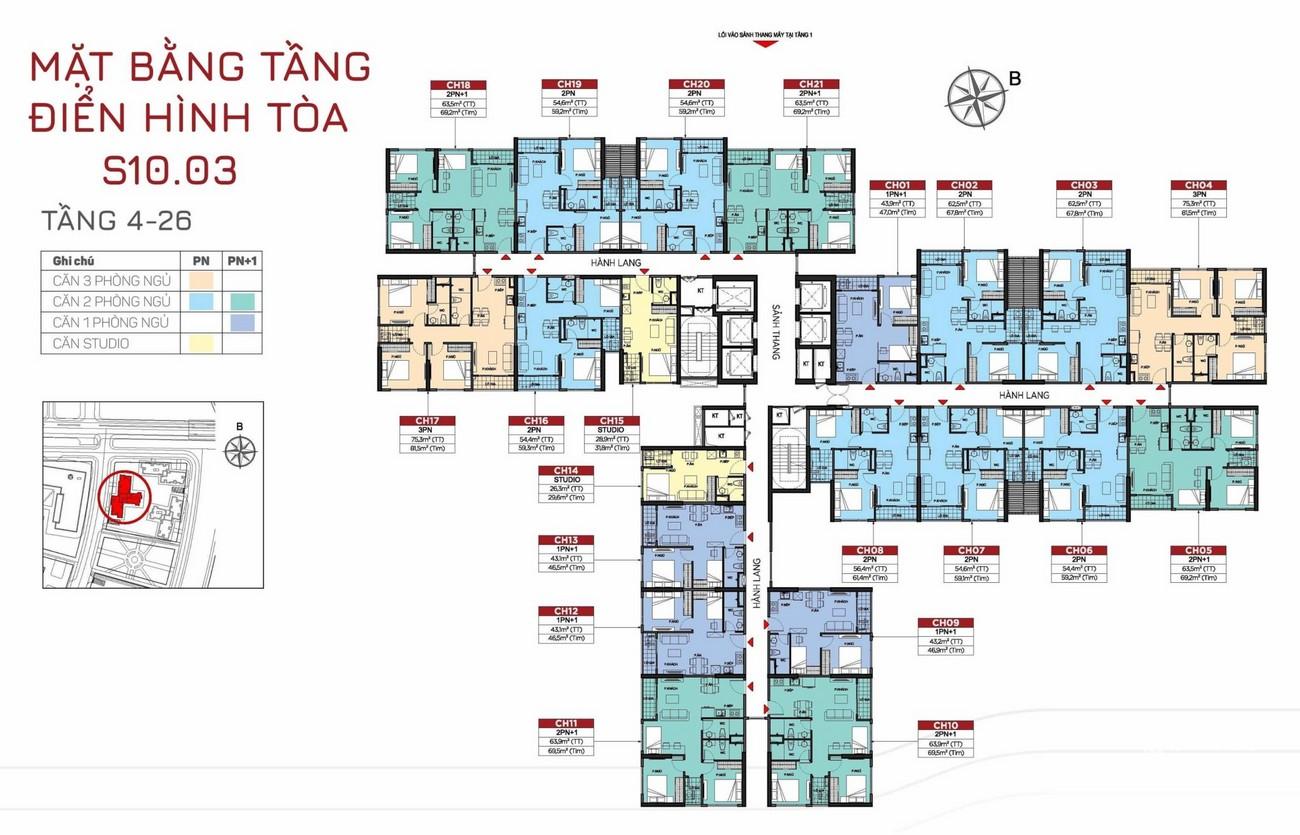 Mặt bằng tòa S10.03 tầng 4-26 dự án The Origami