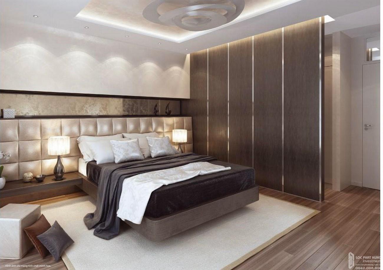 Phòng ngủ với gam màu nâu tạo cảm giác ấm cúng, gần gũi