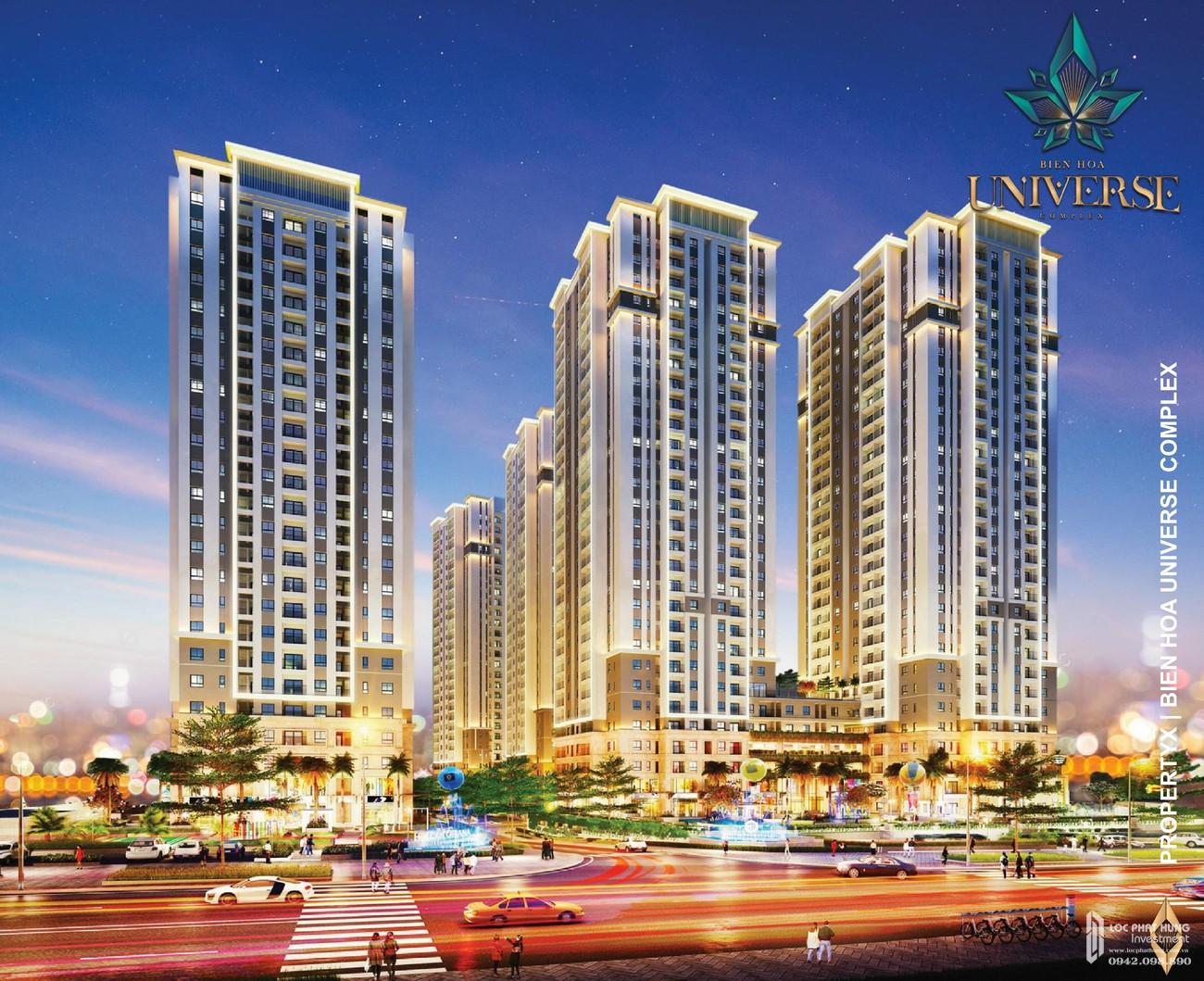 Phối cảnh tổng thể dự án căn hộ chung cư Biên Hoà Universe Complex Biên Hoà Đường Xa lộ Hà Nội chủ đầu tư Hưng Thịnh