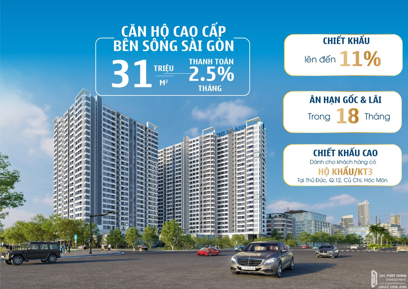 Phối cảnh tổng thể dự án căn hộ chung cư Rivana Thuận An Đường Quốc lộ 13 chủ đầu tư Đạt Phước
