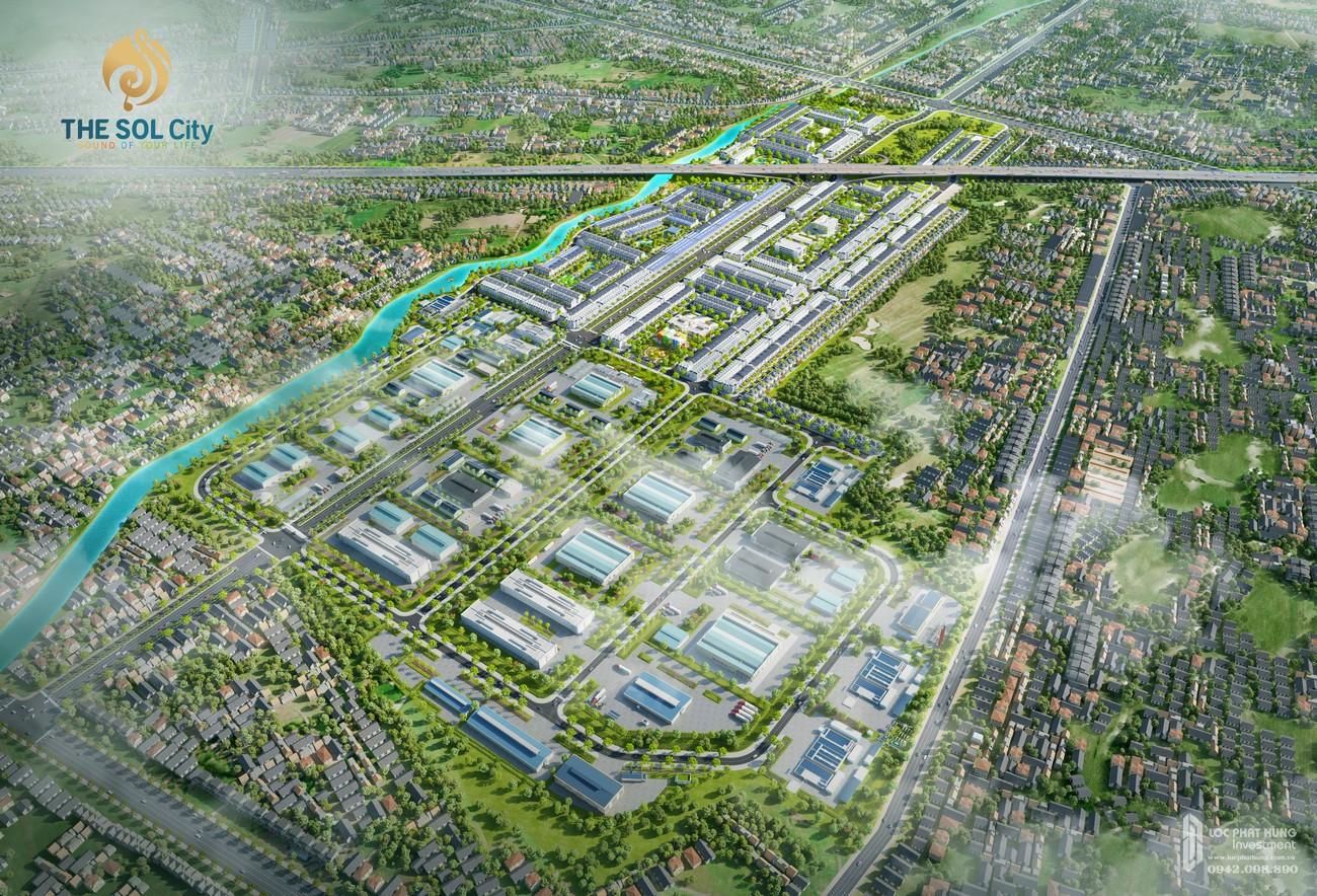 Tổng thể cụm The Sol City và cụm công nghiệp Thắng Lợi