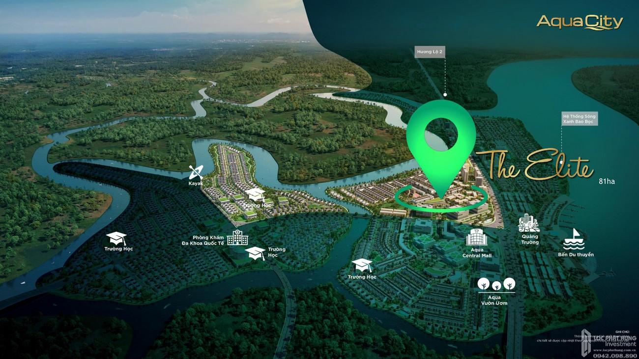 Phối cảnh tổng thể Aqua City The Elite dự án nhà phố Biên Hòa Đường Long Hưng chủ đầu tư Novaland
