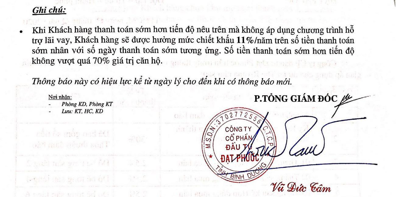Phương thức thanh toán dự án Rivana Bình Dương chủ đầu tư Đạt Phước