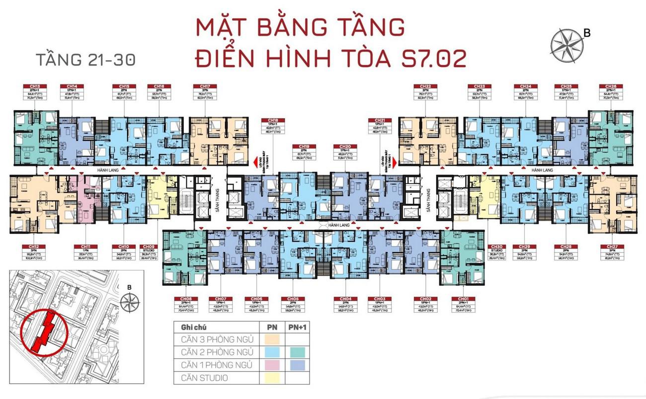 Mặt bằng tầng 21-30 tòa S7 phân khu Origami dự án Vinhomes Grand Park