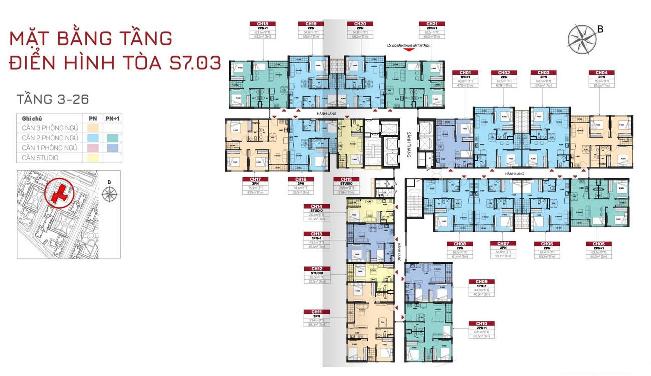Mặt bằng tòa S7.03 Phân khu Origami dự án Vinhomes Grand Park