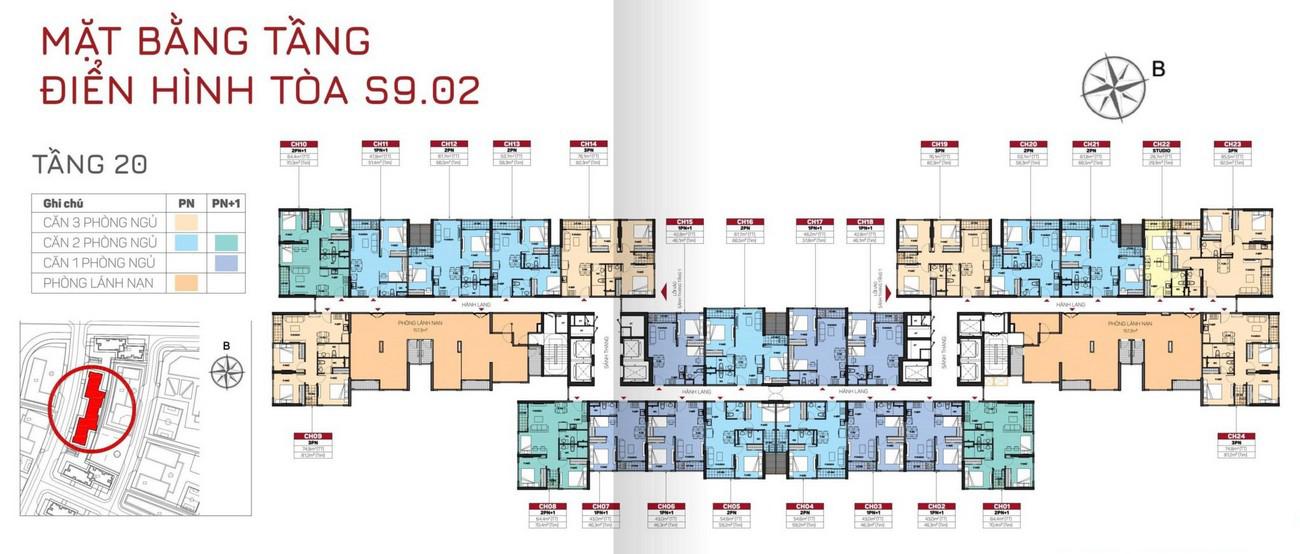 Mặt bằng tòa S9.02 tầng 20 dự án Origami