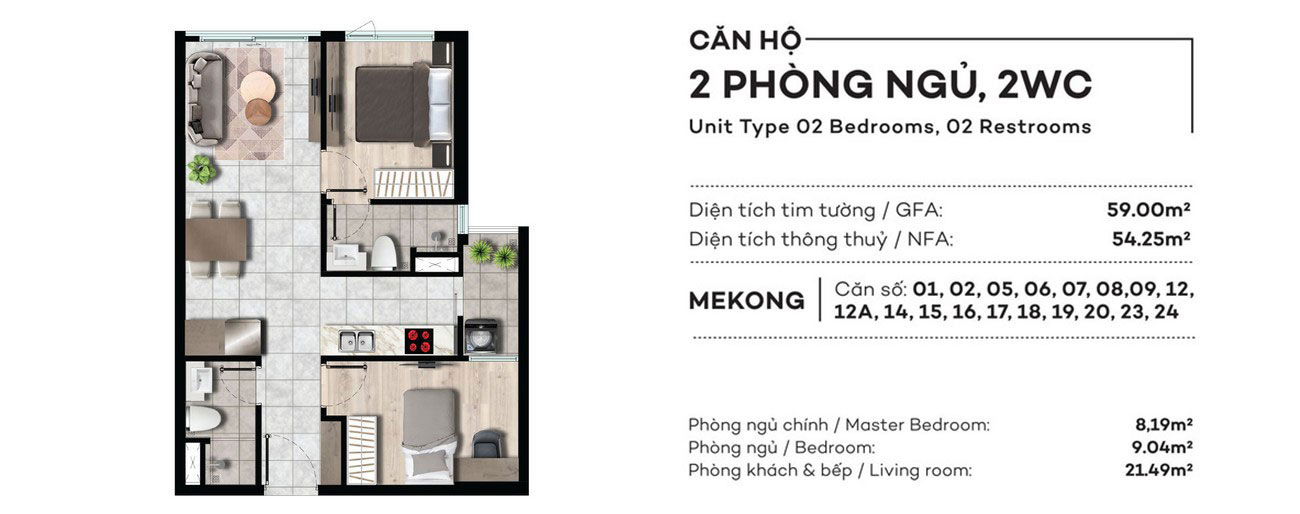 Thiết kế chi tiết căn hộ 2PN 59m2 dự án West Gate Bình Chánh – Liên hệ 0942.098.890 nhận báo giá căn hộ này