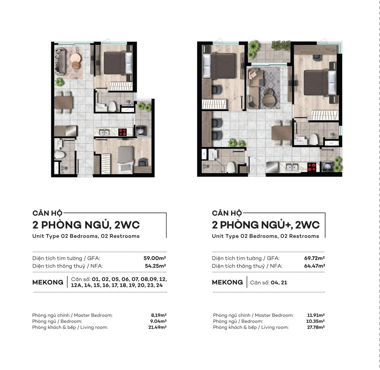 Thiết kế chi tiết căn hộ tại Tháp Mekong dự án West Gate Bình Chánh