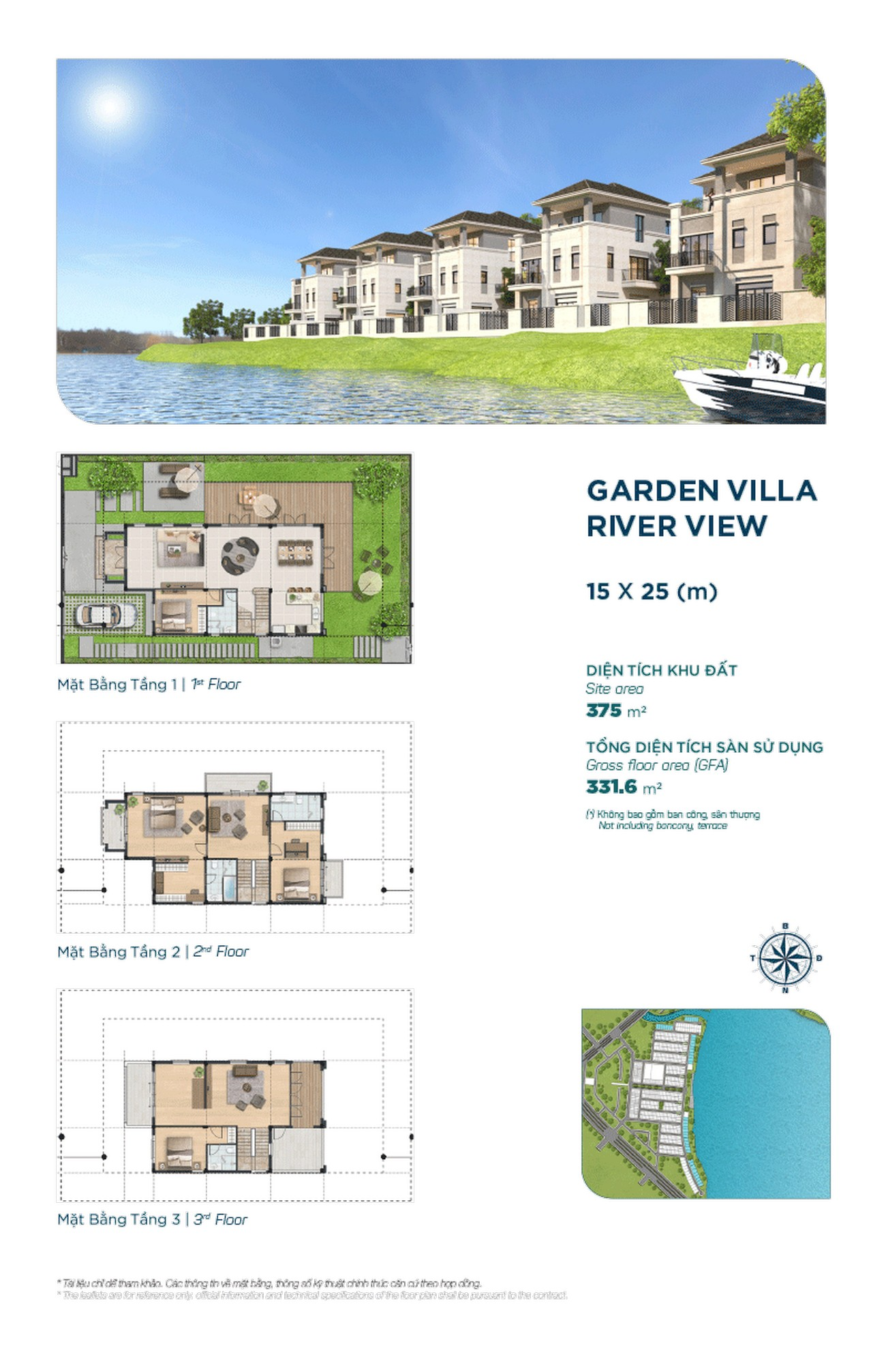 Garden Villa River View 15x25m - Dự án Aqua City The Elite