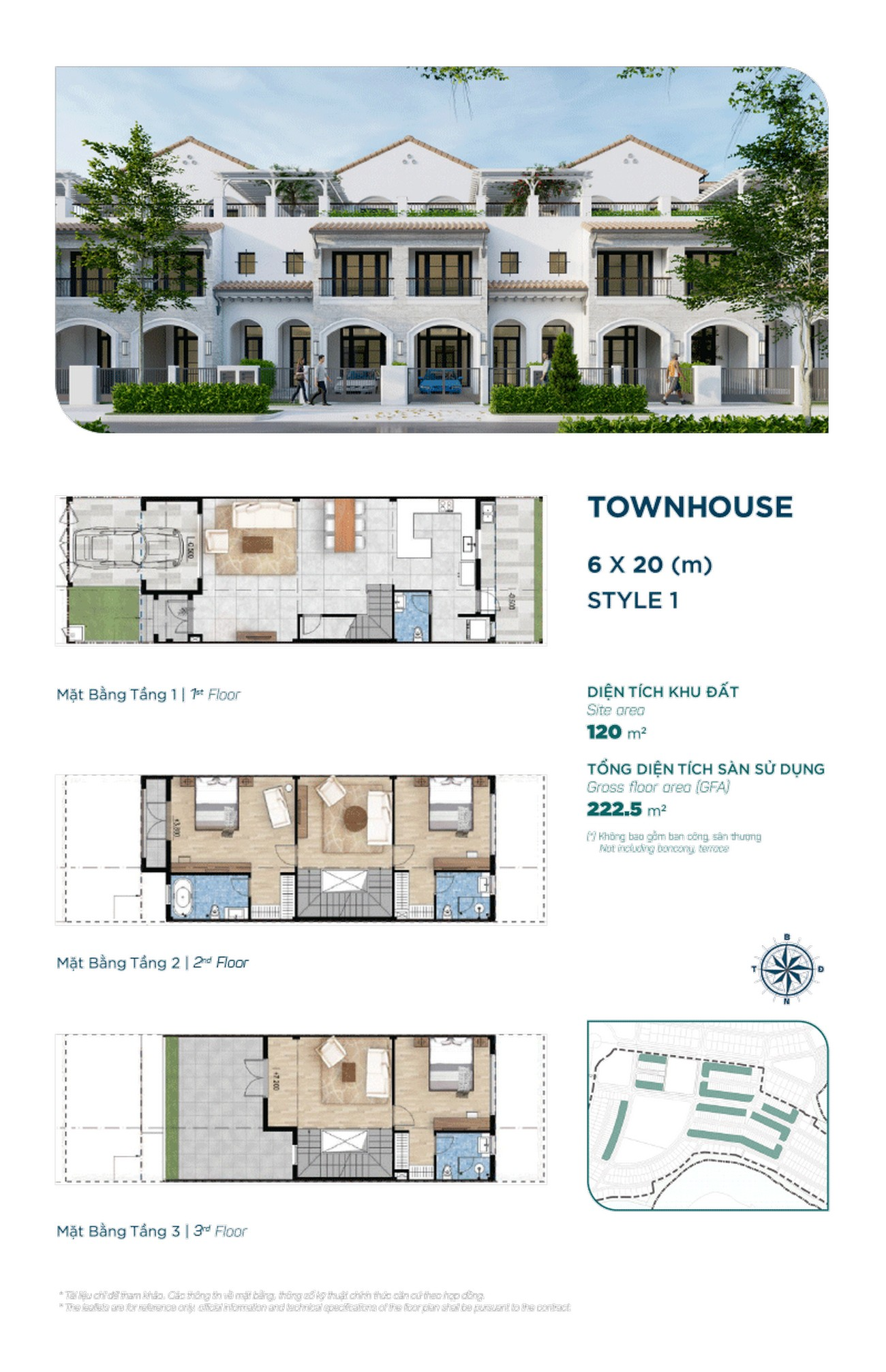 Townhouse The Elite 6x20m ( loại 1 ) - Dự án Aqua City The Elite