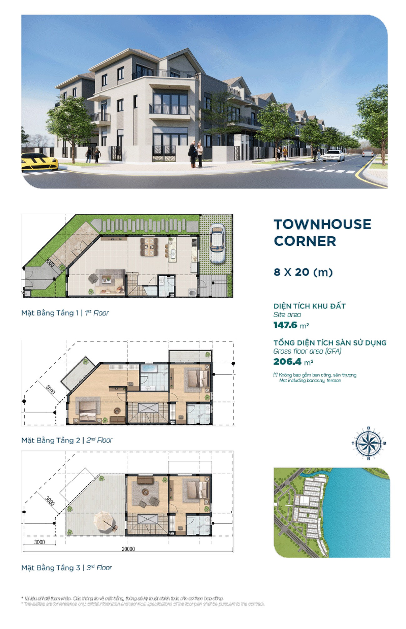 Townhouse The Elite 8x20m ( căn góc ) - Dự án Aqua City The Elite