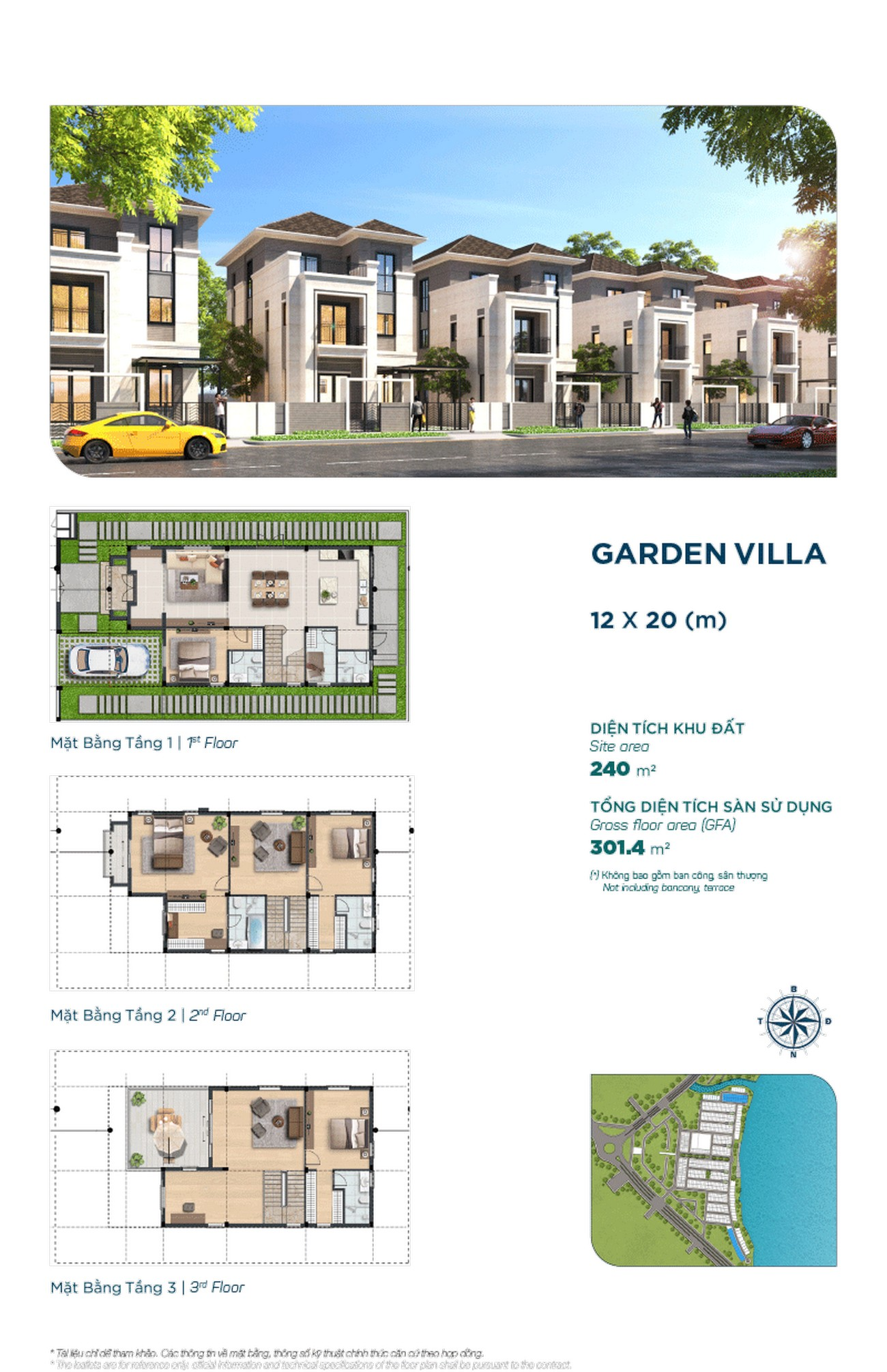 Garden Villa 12x20m - Dự án Aqua City The Elite